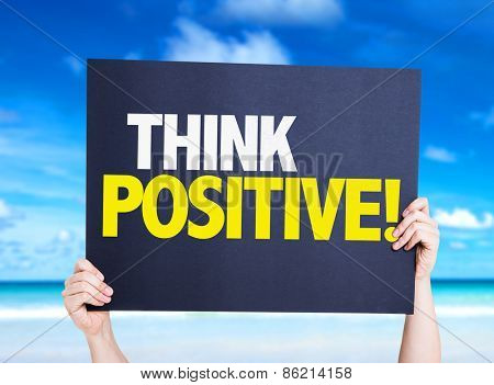 Think Positive card with beach background