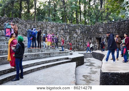 Chandigarh, India - January 4, 2015: People Visit Rock Statues At The Rock Garden In Chandigarh.
