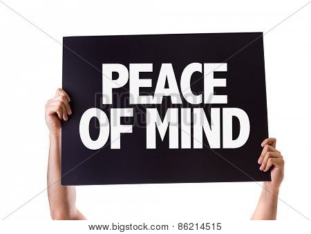 Peace of Mind card isolated on white