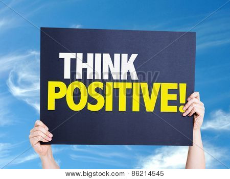 Think Positive card with sky background