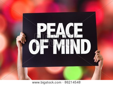 Peace of Mind card with bokeh background