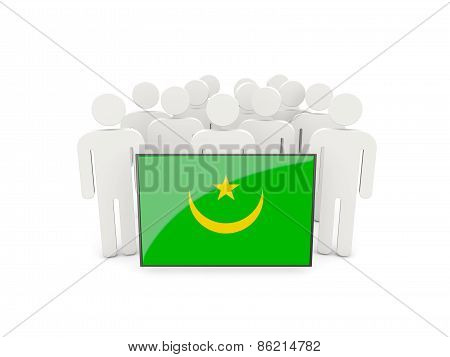 People With Flag Of Mauritania