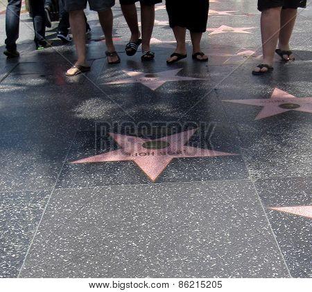Walking on Hollywood Walk of Fame