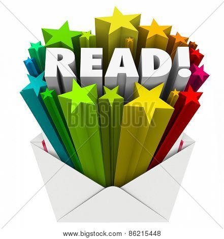 Read word in 3d letters and stars in an open envelope to share a message in advertising, marketing, communication or outreach