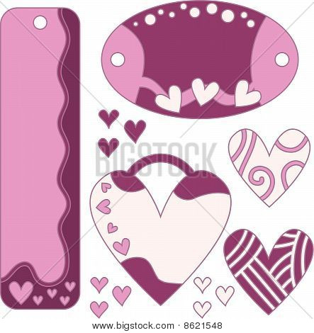Romantic vector heart tags and labels