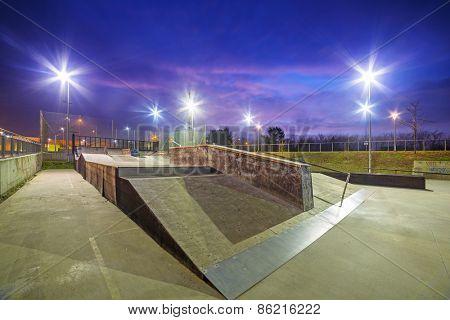 Skate park in Gdansk at dusk, Poland.