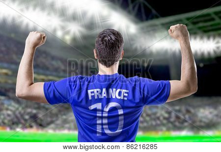 French soccer player celebrating in the stadium