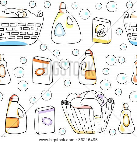Laundry basket, detergents white seamless pattern, vector
