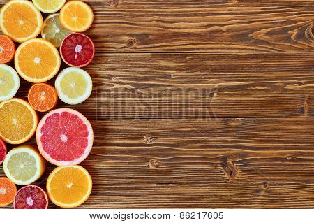Citrus Fruit Cut In Half - Oranges, Lemons, Tangerines, Grapefruit