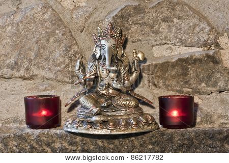 three metals Ganesh carving from India, art
