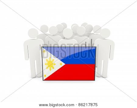 People With Flag Of Philippines