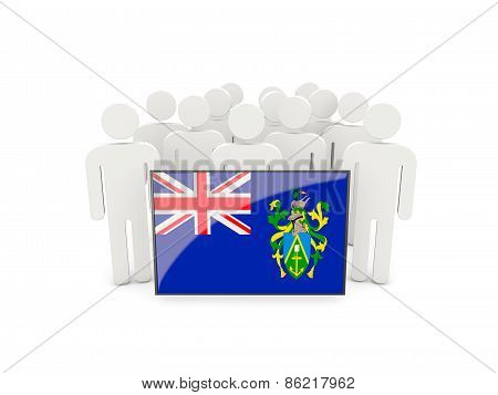 People With Flag Of Pitcairn Islands