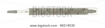 Medical Mercury Thermometer Isolated On White Background.