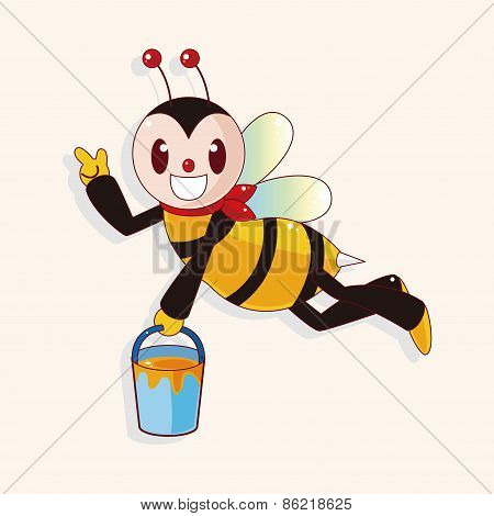 Bee Cartoon Theme Elements