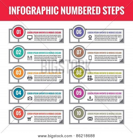 Infographic numbered steps. Infographic vector concept. Infographic vector template.