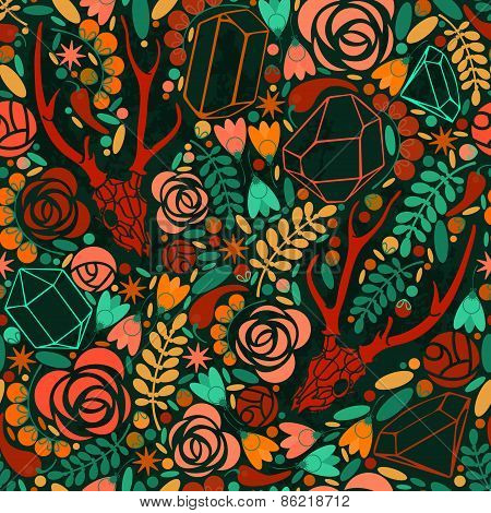 Retro background with crystals, roses and spices.
