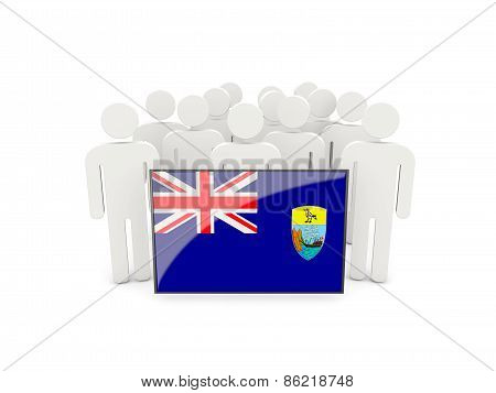 People With Flag Of Saint Helena