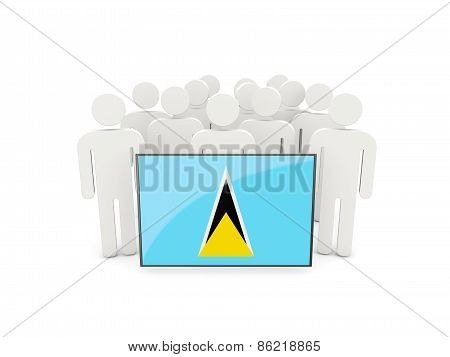 People With Flag Of Saint Lucia
