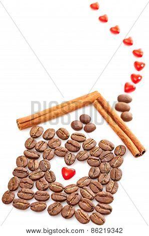 Coffee Beans, Heart, Cinnamon Sticks On White Background