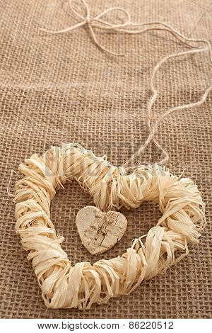 Valentines Day. Handmade Hearts From Bark And Straw