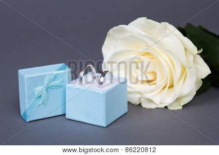 Beautiful White Rose Flower And Wedding Rings In Blue Box Over Grey
