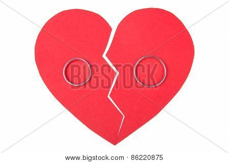 Wedding Rings On Red Broken Heart Isolated On White
