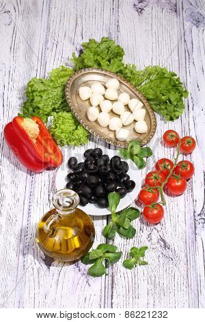 Olives, Tomatoes, Pepper And Ruccola - For Pizza Preparation