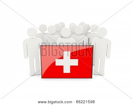 People With Flag Of Switzerland