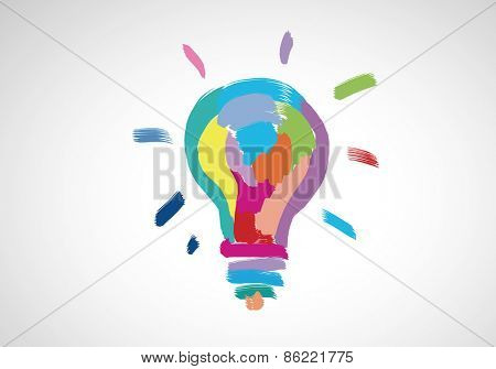 Conceptual image with light bulb drawn in colors