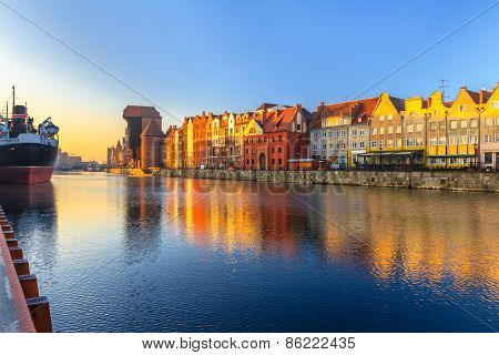 Morning view on Gdansk old town from waterfront