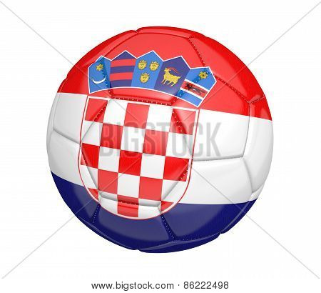 Soccer ball, or football, with the country flag of Croatia