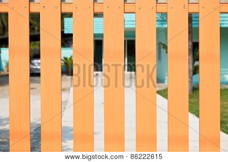 Wooden Fence With Blur Background.