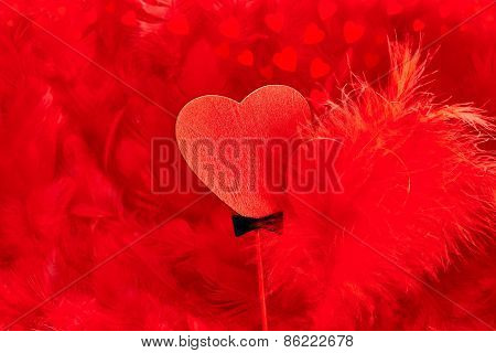 Valentines Day. Hearts Red Couple On Feathers Background. Love Concept