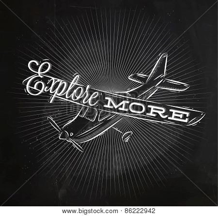 Tourist poster plane chalk