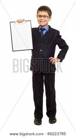 boy in suit show blank sheet clipboard