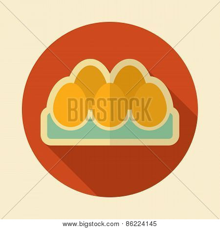 Chicken Eggs In A Tray Retro Flat Icon With Long Shadow