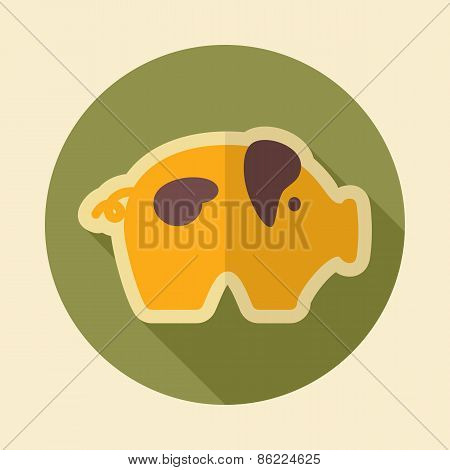 Pig Retro Flat Icon With Long Shadow