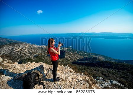 Woman traveling on the island top