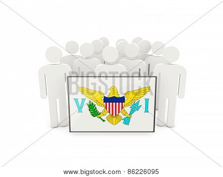 People With Flag Of Usa Virgin Islands