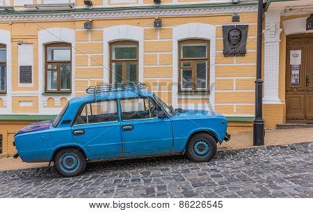 Old Blue Russian Car In Kiev