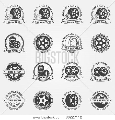 Tire vector emblems or labels