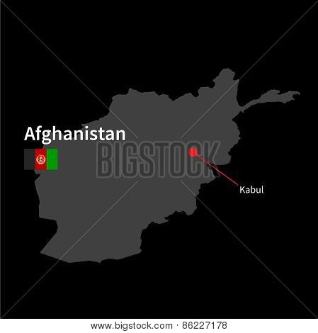 Detailed map of Afghanistan and capital city Kabul with flag on black background