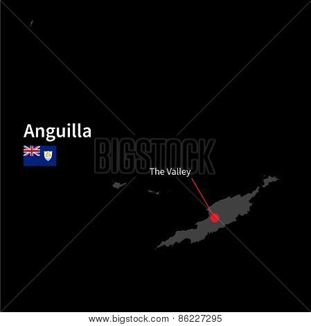 Detailed map of Anguilla and capital city The Valley with flag on black background