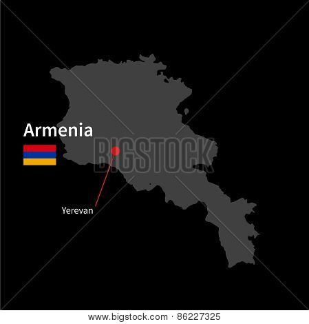 Detailed map of Armenia and capital city Yerevan with flag on black background