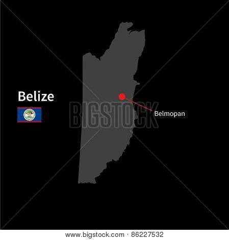 Detailed map of Belize and capital city Belmopan with flag on black background