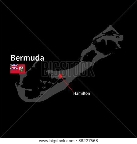 Detailed map of Bermuda and capital city Hamilton with flag on black background