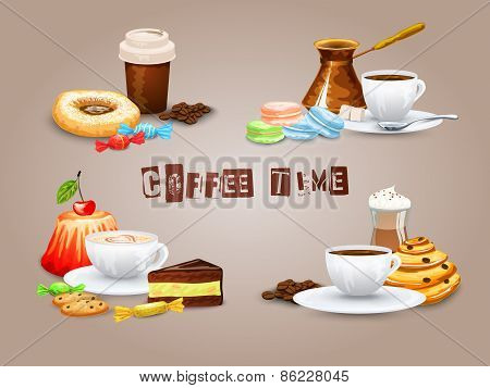 Coffee Decorative Icons Set