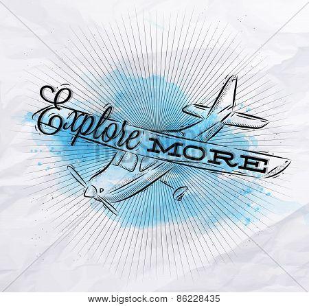 Tourist poster plane blue