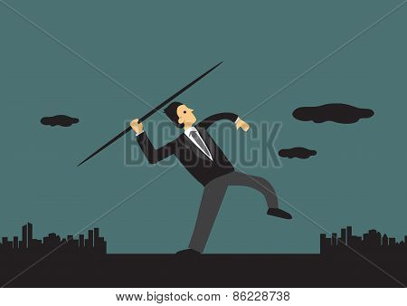 Businessman Throwing Javelin Vector Illustration