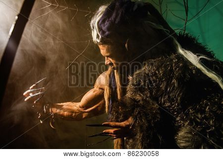 Muscular Man With Skin And Dreadlocks